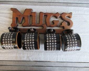 Vintage Ceramic Mugs with Mug Rack, Instant Collection, Cabin Decor, Retro Coffee Mugs, Kiln Craft