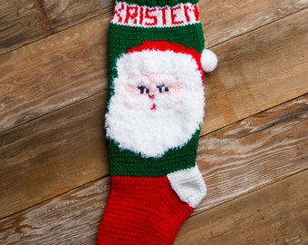 Santa Claus PATTERN, Christmas Stocking, Christmas Stocking Design, Christmas Knitting, Santa Christmas Stocking