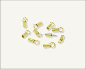 20 pc.+  1.5mm Crimp End Cap, Crimp Ends, Cord Ends, Chain Ends for Cords & Chains - Raw Brass