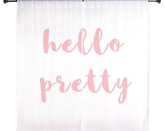 Chiffon Curtains - Hello Pretty - Girls Curtains - Teen Curtains - Sheer Curtains - Dorm Room Curtains - Girls Curtains - Bedroom Curtains