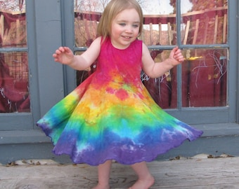 Girls Twirly Dress, Girls Organic Dress, Circle Skirt Dress, Hippie Dress, Organic Cotton Dress, Rainbow Dress, Organic Girls, MADE TO ORDER