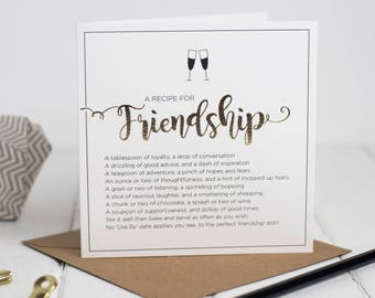 Recipe For Friendship Card - Friend Card - Friendship Card - Card For A Friend - Best Friend Card