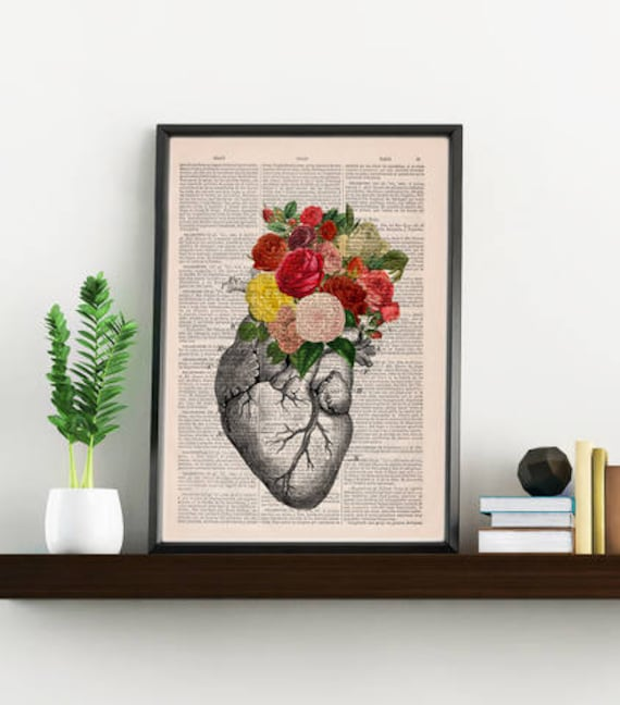 Springtime Heart Decorative Art, Flowers on Skull ,Nature Inspired Print  Wall hanging Skull print, Art flowers  SKA135