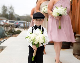 Cotton Ring Bearer Outfit; 4 Piece Set: Ring Bearer Bow Tie, Suspenders, Newsboy Hat and Pants. Wedding Outfit for Ringbearer