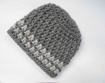 baby boy Hat hand knit grey