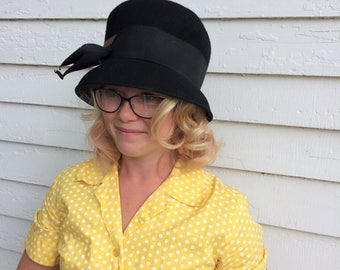 Black Bow Hat Wool Glenover Henry Pollak Vintage Cute