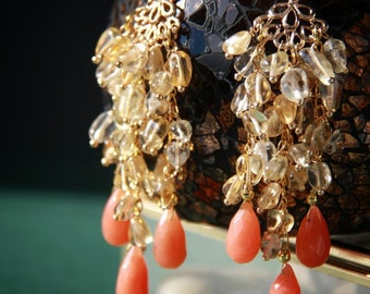 Bohemian Jewelry Statement Earrings Chandelier Earrings Gold Filled Earrings Filigree Citrine Earrings Citrine Jewelry 24K Cluster Ethnic