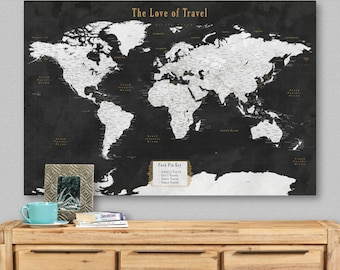 Travel Map Personalized Push Pin Map World Map Travel Custom Pinboard Birthday Gift for Him