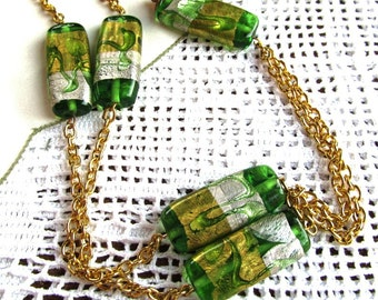 Silver and Gold Foiled Green Pressed Glass Necklace Gold Plated Curb Link Chain
