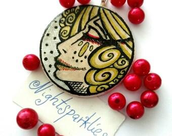 polymer clay brooch, tribal ethnic brooch, vampire countess brooch, handmade art brooch, clay art brooch, handmade wearable art jewelry
