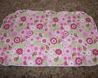 Pink and Green Flower, Butterfly, Paisley Burp Cloth with Minky