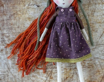 Handmade cloth doll, rag doll, OOAK, girl doll, girl gift