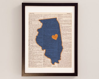 Illinois Fighting Illini Dictionary Art Print - Champaign Art - Print on Vintage Dictionary Paper - University of Illinois - Graduation Gift