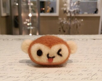 Needle Felted Monkey Brooch, Felted Monkey Magnet, Felted Monkey Pin or Clip