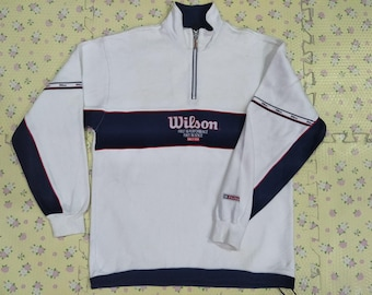 Vintage 90's WILSON halfzipper jacket sportswear big logo spell out for 90's kid size L
