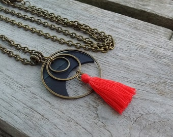 Long necklace - Necklace inner tube pendant with metal rings bronze color and red pompom - Necklace pompom - Necklace chain bronze