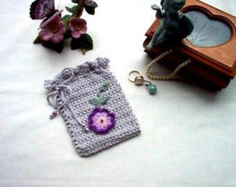 Victorian Rosette Gray Gift Bag/Sachet Lace Crochet Thread Art New Handmade