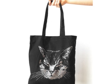 Cat tote bag Silver Cat Black Tote bag Cat bag cat gift meow animal screen print metallic glitter ink, Awesome gift for crazy cat lady tote