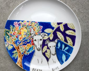 OOAK Hand painted porcelain plate, Dog plate, custom plate painting, Made by harriet, colourful plate, ceramic dog, painted dog, dog gift,
