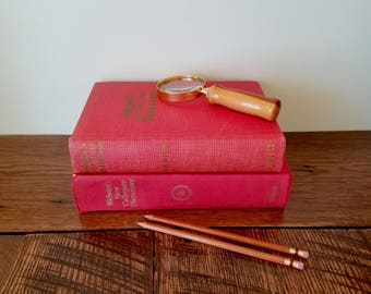 Red Reference Books Set of 2 - Retro Hardcover Dictionary & Thesaurus - Office Decor - Red Book Decor - Library Reference Book - School Book