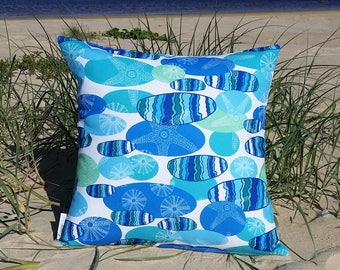 OUTDOOR cushions| decorative pillow cover, unique design, green, blue, pebbles, starfish, sealife, coastal, beach
