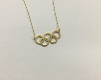 925 Sterling Silver Necklace Olympic Five Rings Necklace Olympic 5 Ring Jewelry