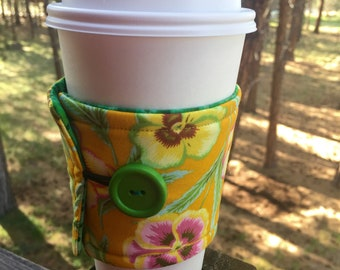 Reusable Coffee Sleeve - Yellow Floral