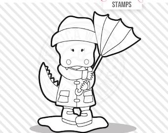 Alligator in the Rain Cute Digital Stamp, Rain Day Alligator Blackline, Alligator Black and White Outline, Alligator Line Art, Rain Puddle