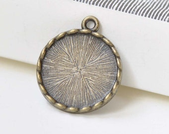 Antique Bronze Coiled Pendant Tray Bezel Setting Match 17mm Cabochon Set of 10 A8454
