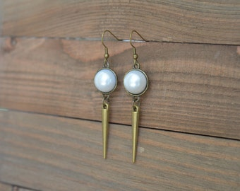 CLOSEOUT Pearl Spike Earrings - Long Spike Earrings - Antique Gold Dangle Earrings - Edgy Earrings - Pearl Dangle Earrings