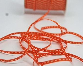 Solid Stitched Center Ribbon -- 1/8 inch -- Pumpkin Orange