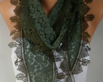 Mother's day Gift Military Green Lace Scarf -  Shawl Scarf Women Scarves Cowl Scarf Bridesmaid Gift - fatwoman