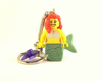 Mermaid Keychain - 3 Tail, 5 Hair & 3 Face Styles *LAST ONE* Purple Starfish and Silver Mermaid Charms - Fan Art Crafted From LEGO® Elements