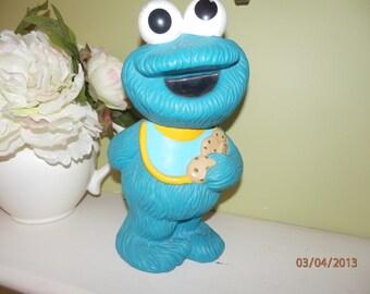 Vintage 1984 Cookie Monster Sesame Street Blue Vinyl Bank Holding Cookie