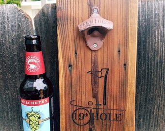 Golfer Gift - Golf Gift - Golf - Bottle Opener - Wall mount Opener - Fathers Day Gift – Personalized  Opener - Beer Opener - Man Cave