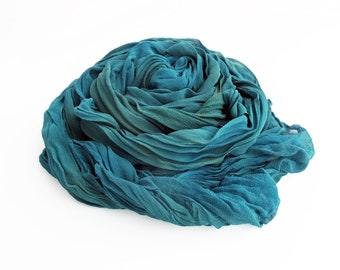 Teal scarf, turquoise scarf, silk scarf teal, silk scarf turquoise, chiffon scarf, crinkle chiffon scarf, best selling items, trending now