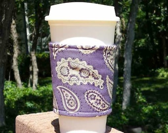 FREE SHIPPING UPGRADE with minimum -  Fabric coffee cozy / cup holder / coffee sleeve  / tea sleeve -- Purple paisley