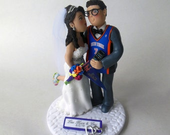 Customized Bride and Groom Wedding Cake Topper * Sports Related