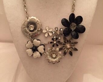 Black and White Flower Bib Necklace