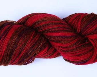 Kauni Wool Yarn Self-Striping, Red Purple Brown Gradient EM