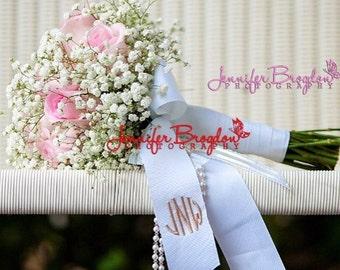 Monogrammed Wedding Bouquet Ribbon