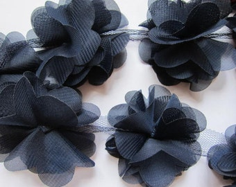"1 yard 2.5"" Chiffon Flowers Lace Trim-Navy CH014"