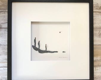 Family of three Pebble Art, Minimal Art, Original Art by Sharon Nowlan, pebble art comes matted or framed in 12 by 12 frame.