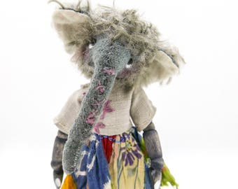 Ellory, OOAK, art doll, artist bear elephant, anthropomorphic, mohair