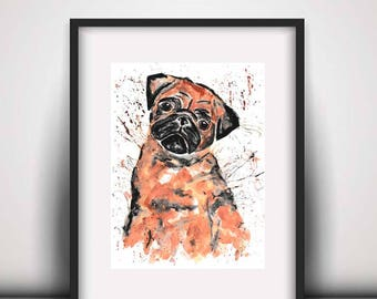 Giclee print, Pug print, pug art print, pug painting, pug watercolour, watercolour print, art print, dog print