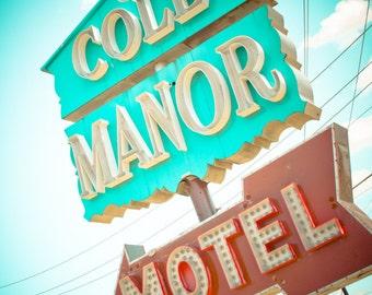 Dallas Texas Neon Sign Vintage Retro Roadside - Fine Art Photograph - Cole Manor Motel