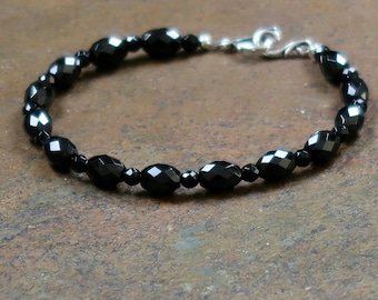 A+ Faceted Black Spinel Bracelet with Antique Silver Clasp