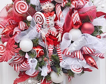 Elf Wreath, Red and White Christmas Wreath, Christmas Wreath, Christmas Elf Wreath, Christmas Wreath for front door, Elf Decor