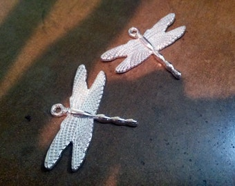 Dragonfly Pendants Silver Dragonfly Charms Steampunk Charms Steampunk Dragonfly Shiny Silver Charms Silver Pendants 4 pieces