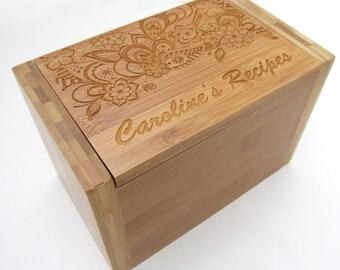 Personalized Wood Recipe Box - Paisley Floral Design - Bamboo Recipe Box - Custom Personalized Wooden Recipe Box